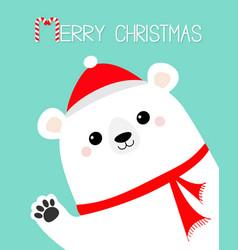 merry christmas big white polar bear waving hand vector image