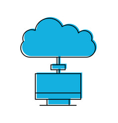 monitor computer with cloud computing vector image
