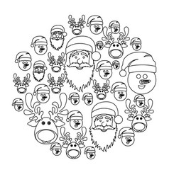 Monochrome round pattern of christmas faces vector