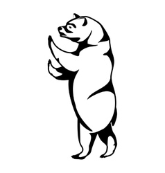 monochrome silhouette with bear of standing vector image
