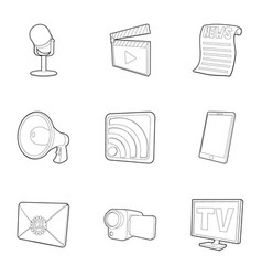 News subscription icons set outline style vector