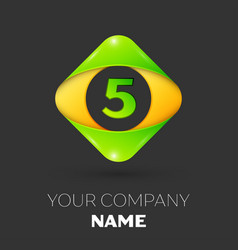 Number five logo symbol in colorful rhombus vector