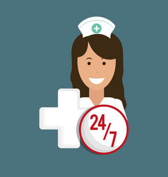 nurse medical service cross 24-7 vector image