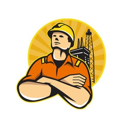 Offshore oil and gas worker rig retro vector