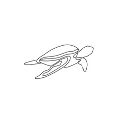 one continuous line drawing wild sea turtle vector image