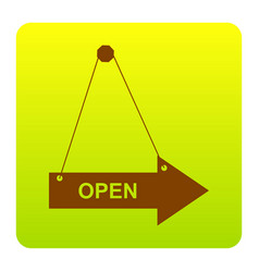 open sign brown icon at vector image