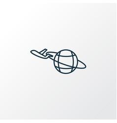 plane around the world icon line symbol premium vector image