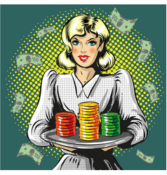 Pop art of woman with gambling vector