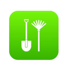 rake and shovel icon digital green vector image
