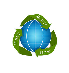 recicling arrows concept with earth globe vector image