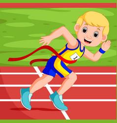 Runner man winning a race vector