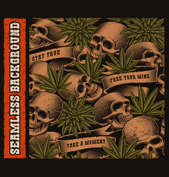 seamless background of skulls and cannabis leaves vector image