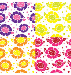 Seamless pattern with cute doodle flowers vector