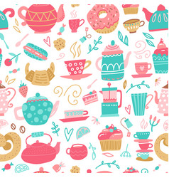 seamless pattern with hand drawn tea time symbols vector image