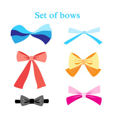 set colorful bows vector image