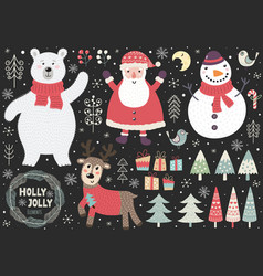 set cute christmas elements vector image