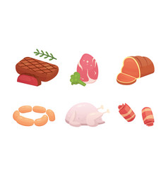 Set fresh meat products steak in cartoon style vector