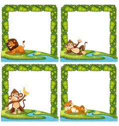 Set of animal nature frame vector