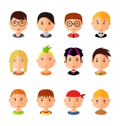 Set of cartoon avatar flat boy icons vector