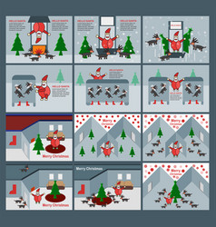 set of scene for merry christmas with santa claus vector image