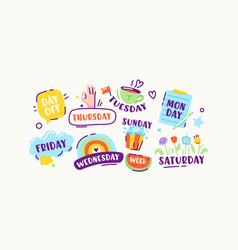 Set stickers or icons week days sunday vector