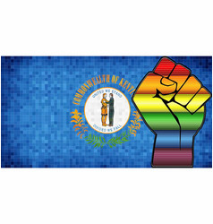 Shiny lgbt protest fist on a kentucky flag vector