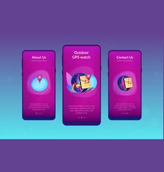 Smartwatch navigation app interface template vector