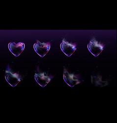 Soap bubbles heart shape burst sprites animation vector