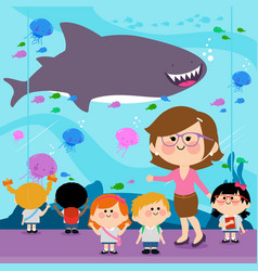 Students visiting oceanarium vector