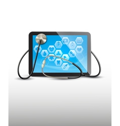 Tablet with medical icons and a stethoscope vector image
