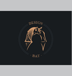 the bat flaps its big wings vector image