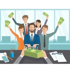 The office manager or workers receive a monthly vector image