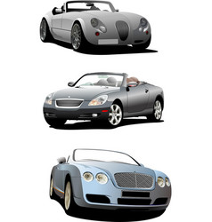 three cabriolets on the road vector image