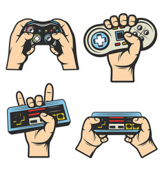 Vintage colored gaming elements set vector