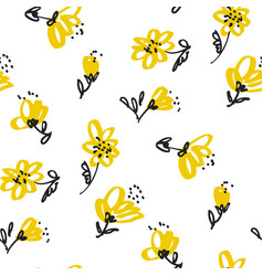 vintage yellow floral seamless pattern vector image