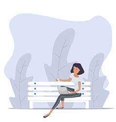 woman sitting bench with notebook nature vector image