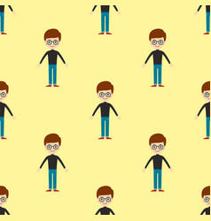 Young kid portrait seamless pattern friendship man vector