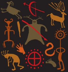 cave man warrior paintings vector image vector image