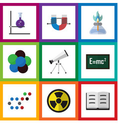 Flat icon study set of lecture attractive force vector