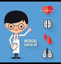 Medical check up with man doctor characters vector image vector image