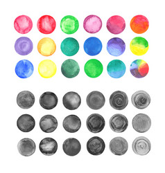 set of rainbow watercolor circles vector image vector image