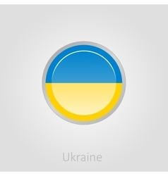 Ukraine flag button vector image vector image
