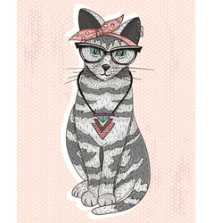 Cute hipster rockabilly cat with head scarf glasse vector image