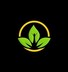 green leaf ecology people logo vector image vector image