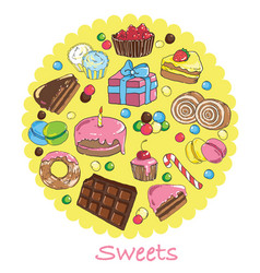set of sweets and baked goods vector image