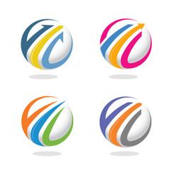 arrow finance circle icon vector image vector image