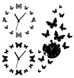 butterfly clocks set vector image vector image