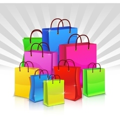 Color shopping bags Discount concept vector image vector image