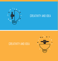 creative bulb light idea and pencil hand iconflat vector image vector image