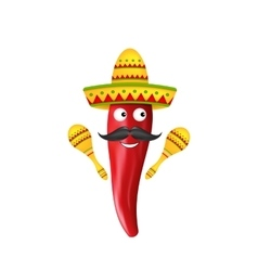 Mexican Symbols Red Chili Pepper Sombrero Hat vector image